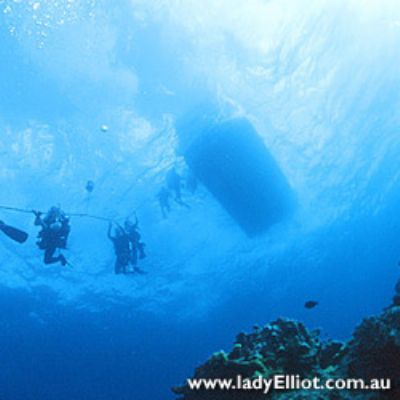 Divers descending from a boat in Australia