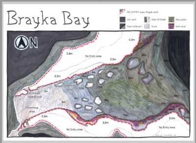 Brayka bay housereef dive site map