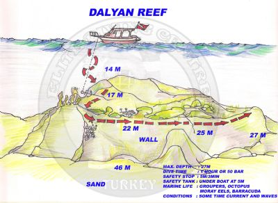 Dalyan Reef dive site map