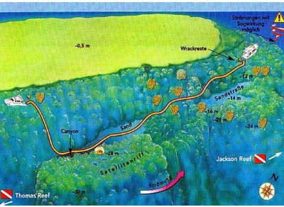 Wood house reef dive site map