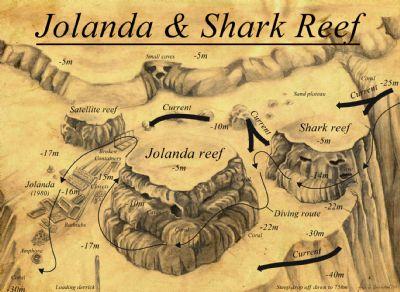 Yolanda - Shark Reef dive site map